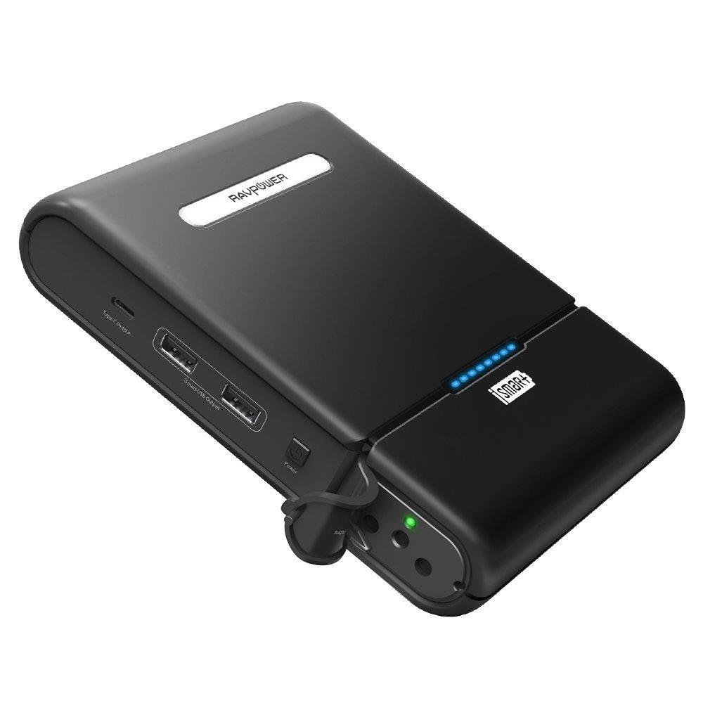 RAVPower 27000mAH Powerstation Tragbare AC Ausgang für 110V / 220V Haushaltsgeräte mit Type-C 5V / 3A und USB-iSmart 5V / 2,4A Port für Notebook, Smartphones, Tablet und weitere