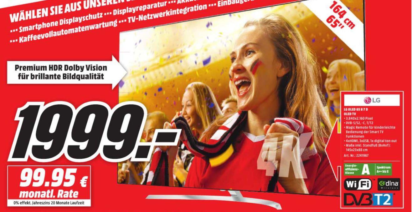 [Regional Mediamarkt Berlin/Brandenburg-Alle 19 Filialen] LG OLED65B7D 164 cm (65 Zoll, OLED) Fernseher (Ultra HD, Doppelter Triple Tuner, Active HDR mit Dolby Vision, Dolby Atmos, Smart TV) [Energieklasse A] für 1999,-€