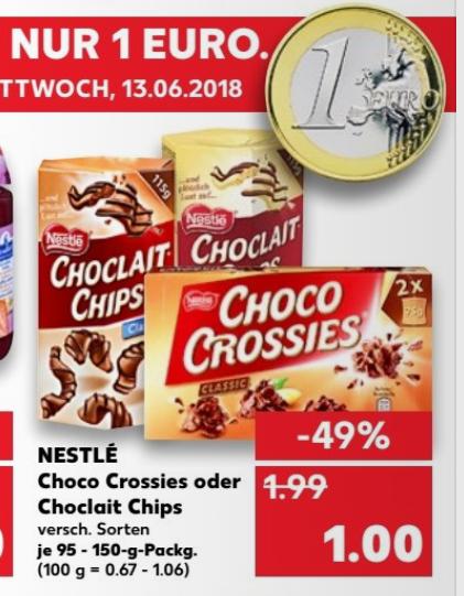 ( Kaufland ) Choclait Chips und Choco Crossies 95g-150g ab dem 07.06.2018 für 1€
