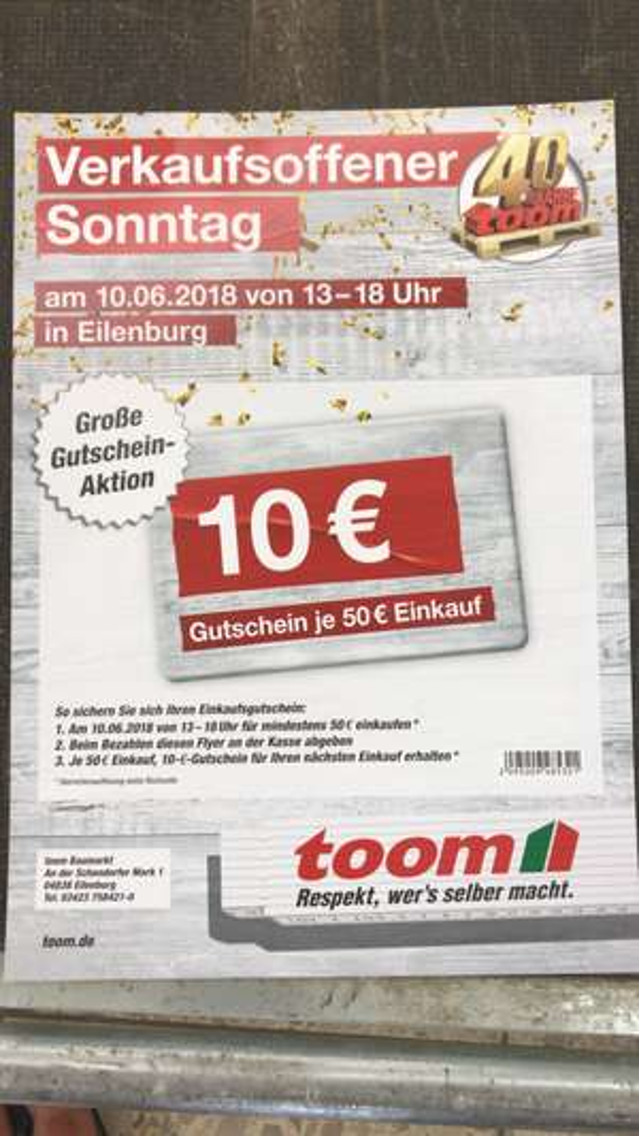 [Lokal Eilenburg bei Leipzig] 10 € toom Gutschein je 50 € Einkaufswert am 10.06. (verkaufsoffener Sonntag)