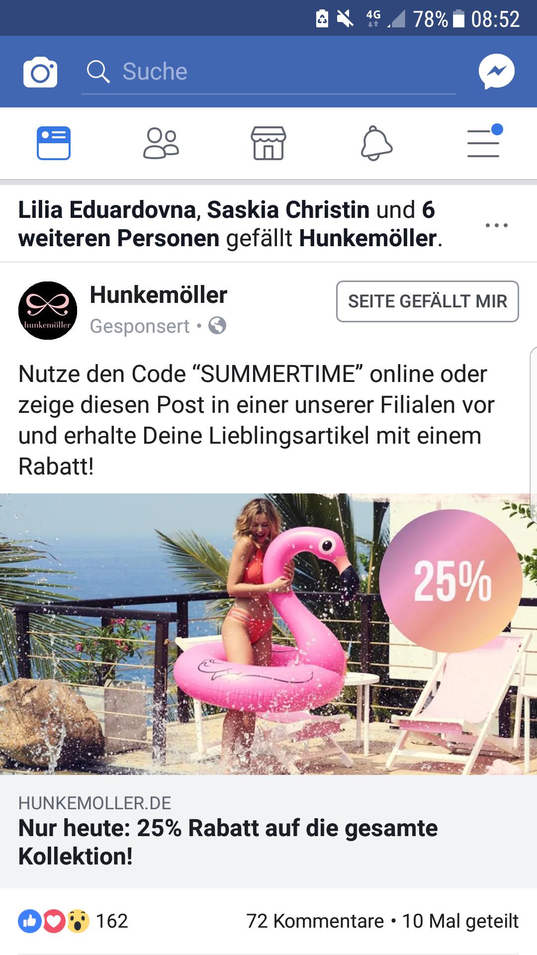 Nur heute 25% auf alles bei Hunkemöller