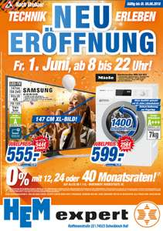 LOKAL: Expert HEM Neueröffnung in Schwäbisch Hall z.B. Samsung UE58MU6199 555,- uvm.