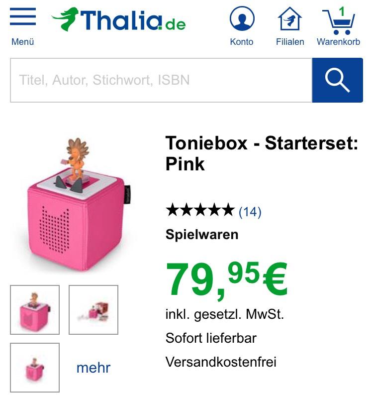 Toniebox in allen Farben bei Thalia NUR HEUTE