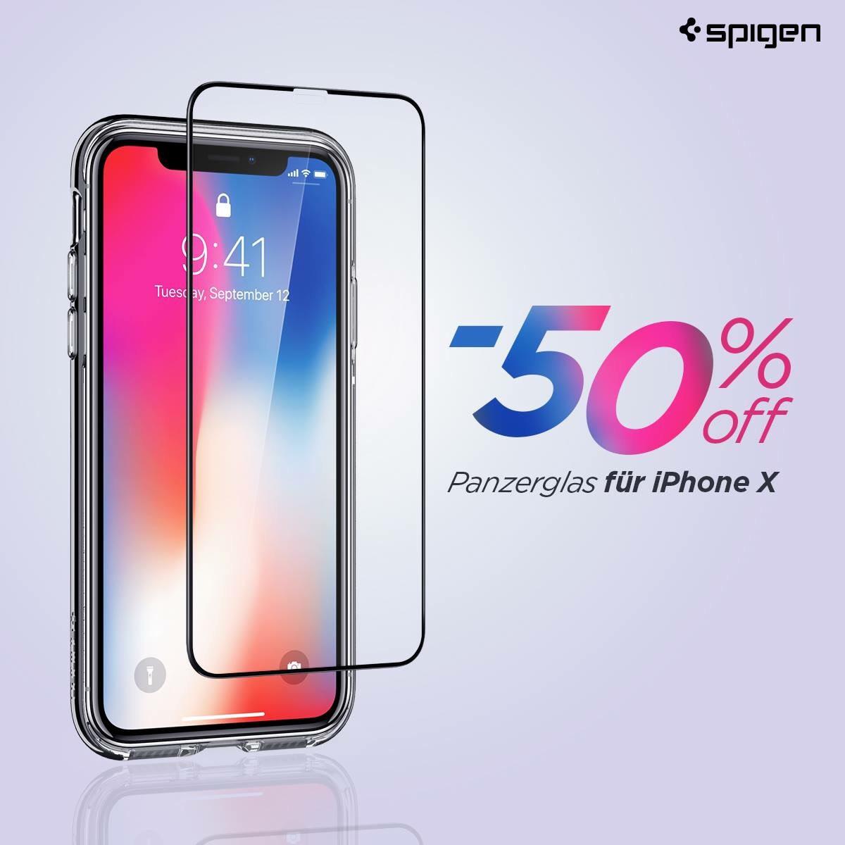 50% auf Spigen Panzerglas für das IPhone X