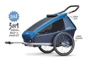 Croozer Kid Plus for 2 2018 Ocean blue 3 in 1 Fahrradanhänger Buggy & Jogger
