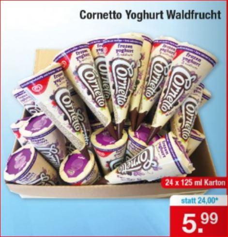 Cornetto Yoghurt Waldfrucht 24 Stück (125ml) für 5,99 Euro [Zimmermann]