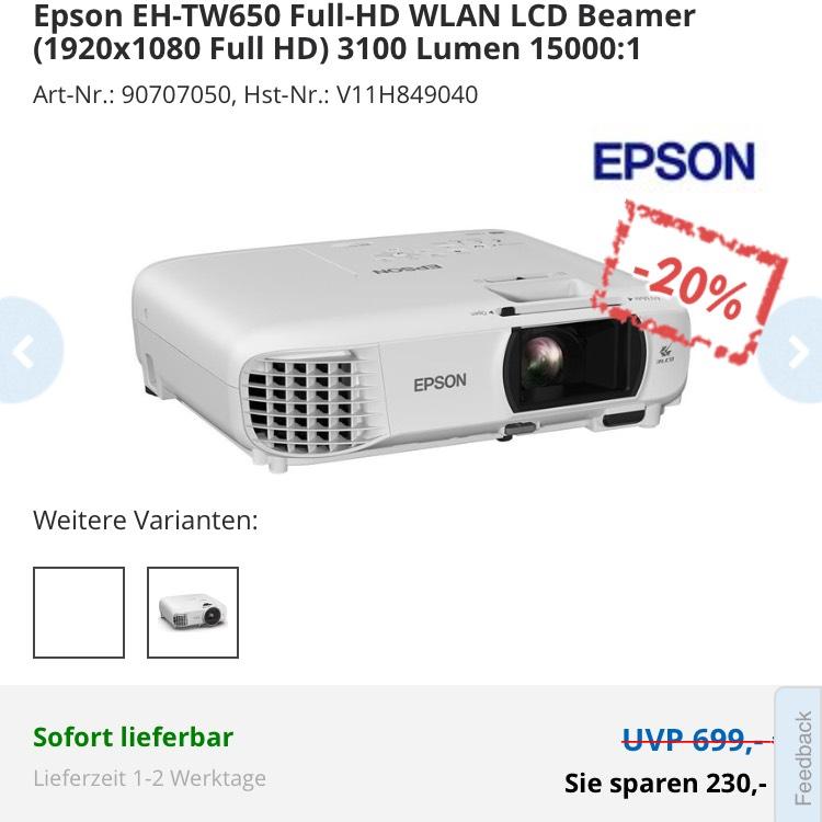 Epson EH-TW650 Full-HD WLAN LCD Beamer (1920x1080 Full HD) 3100 Lumen 15000:1