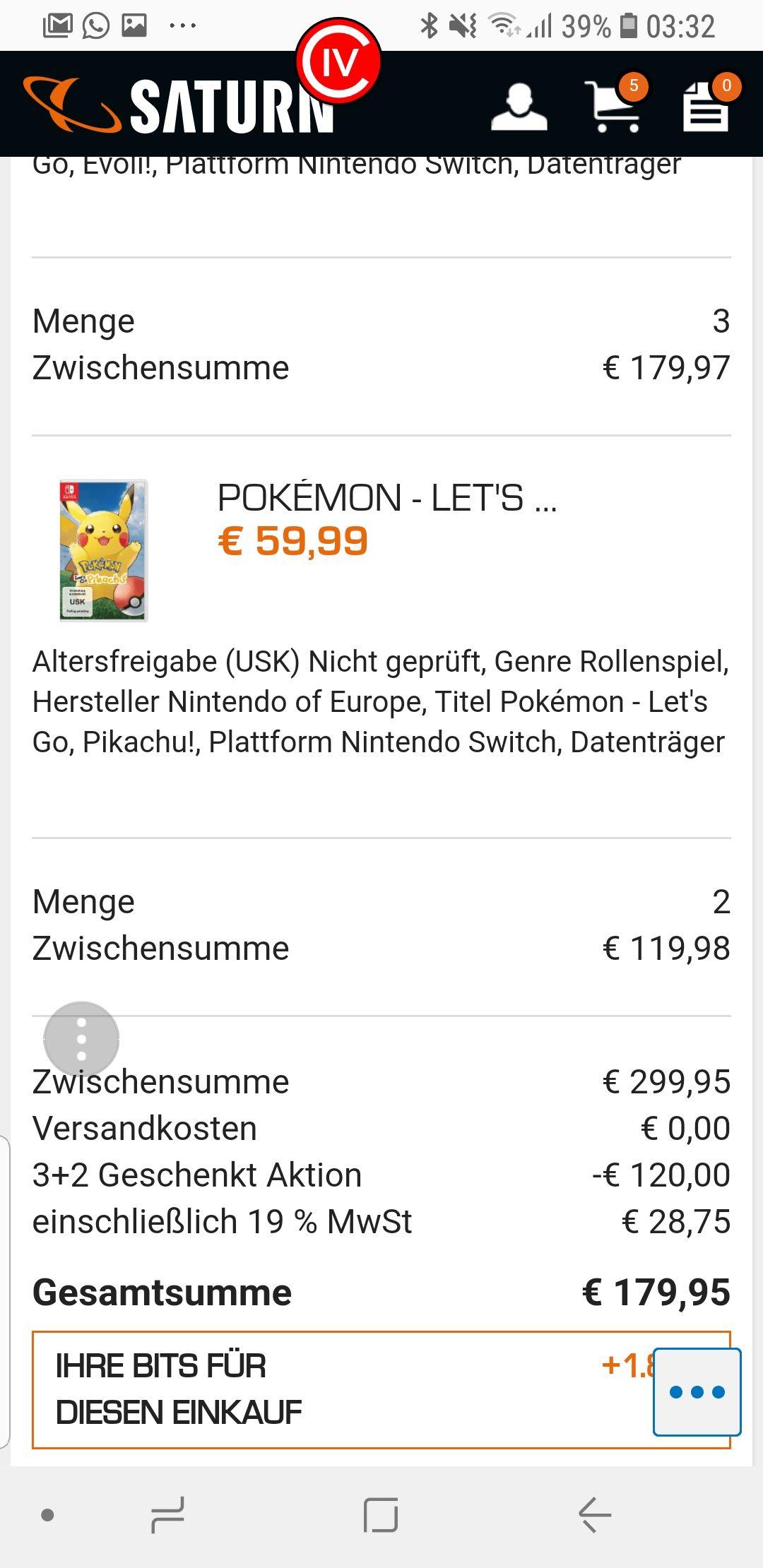 5x Pokemon für die Switch bei Saturn  für 180€  Schnell sein