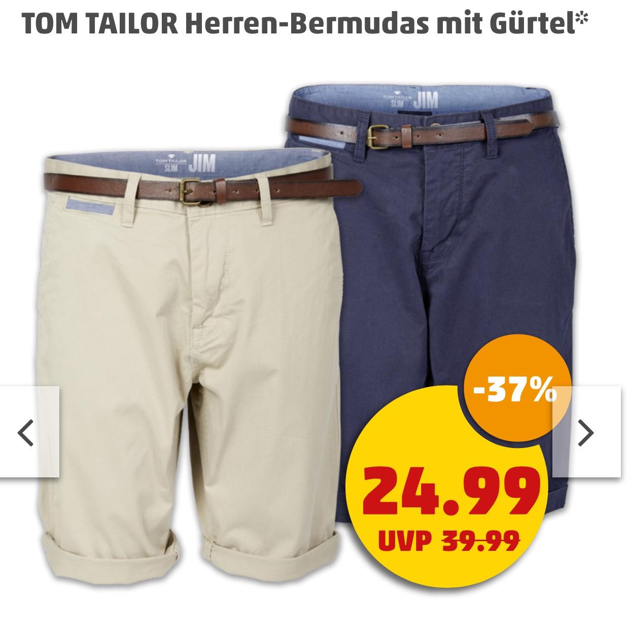 TOM TAILOR Herren-Bermudas mit Gürtel für 24,99€ Slim Fit [ab 07.06 bei Penny]