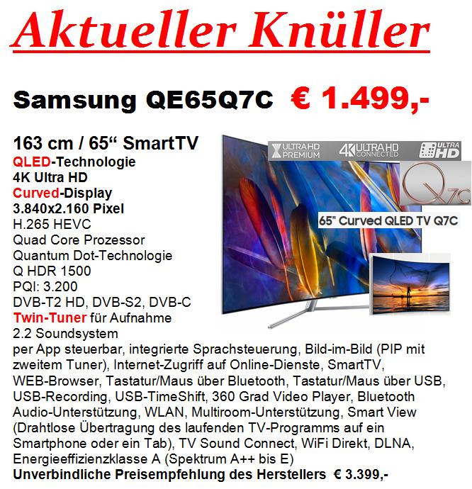 Samsung QE65Q7F und QE65Q7C - Umgebung Rhein-Main Gebiet / Hunsrück