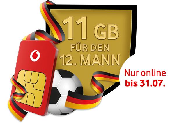Kostenlos 11GB Datenvolumen für 28 Tage bei den Vodafone Gigagoals für CallYa Flex