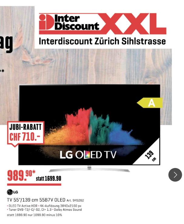 [Schweiz - interdiscount] LG 55B7V OLED - 858€ - LOKAL
