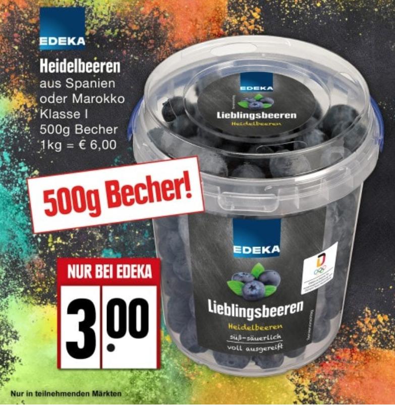 Blaubeeren / Heidelbeeren 500g bei Edeka