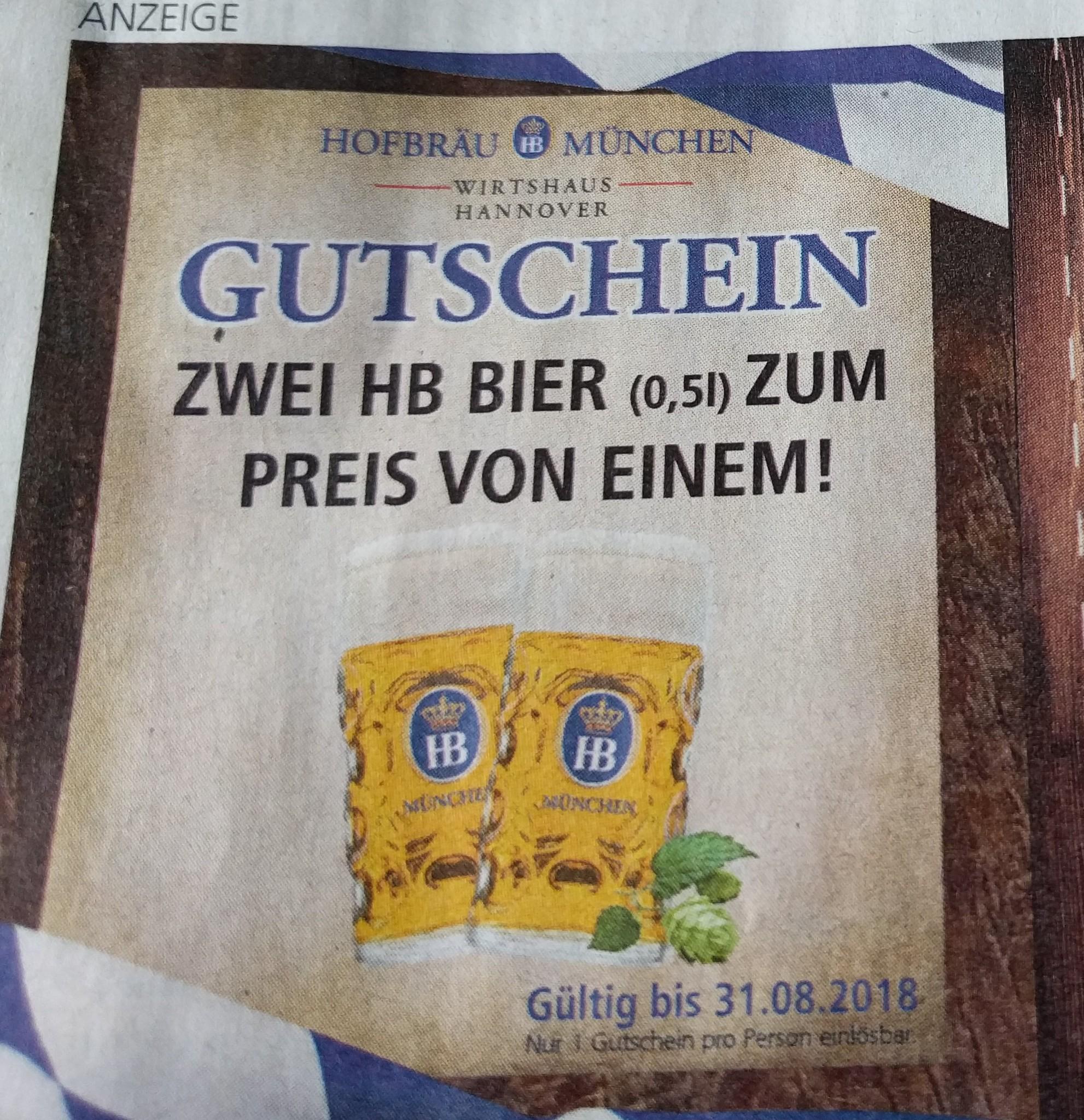 [lokal Hannover] 2 für 1 Coupon für 0,5L Bier im Hofbräuhaus in der Einkauf Aktuell