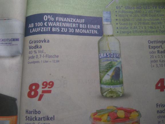 (Real offline) Grasovska Büffelgras Vodka für 8,99 € für 0,7 L