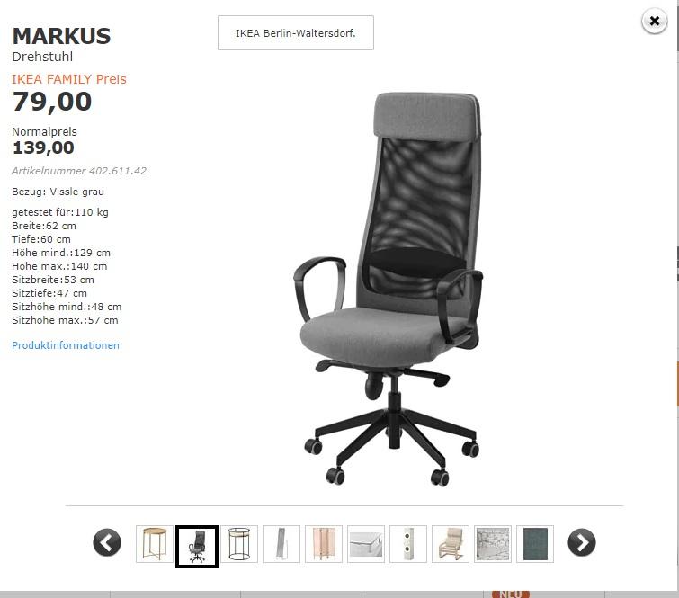 IKEA Family [lokal] [Berlin-Waltersdorf] - Drehstuhl MARKUS (Vissle grau) Juni Angebot.