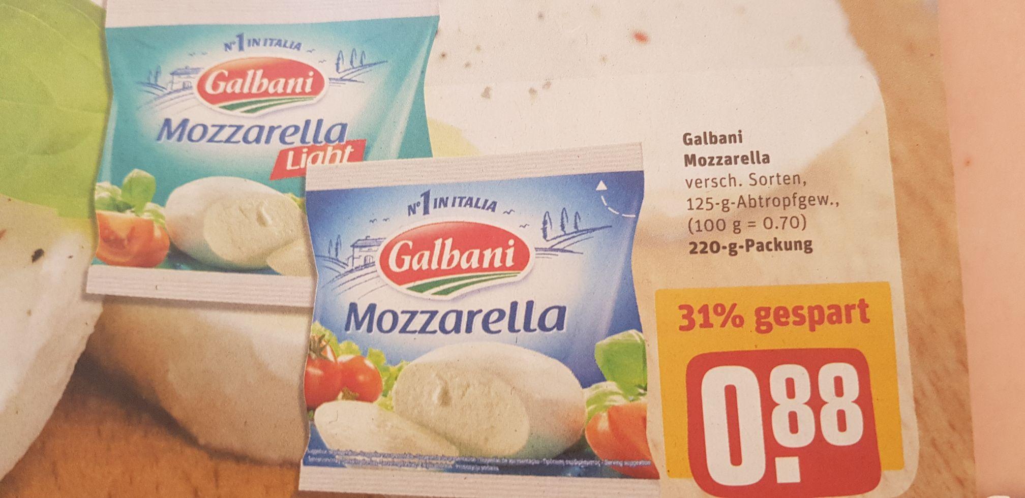 Galbani Mozzarella 125g Beutel nur 0,38/Stk beim Kauf von Zwei Beuteln [Rewe Angebot+Coupon]
