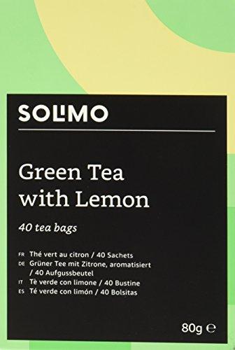 [AMAZON Plusprodukt]  240 Teebeutel Amazon Marke - Solimo - Grüner Tee mit Zitrone, aromatisiert - 40 Aufgussbeutel x6