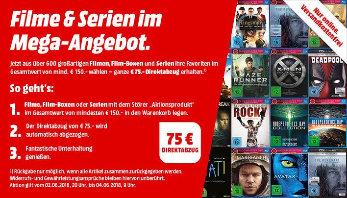 75 € Direktabzug ab 150 € Einkaufswert auf über 600 Filme, Film-Boxen und Serien (Blu-Ray, DVD) [mediamarkt.de]