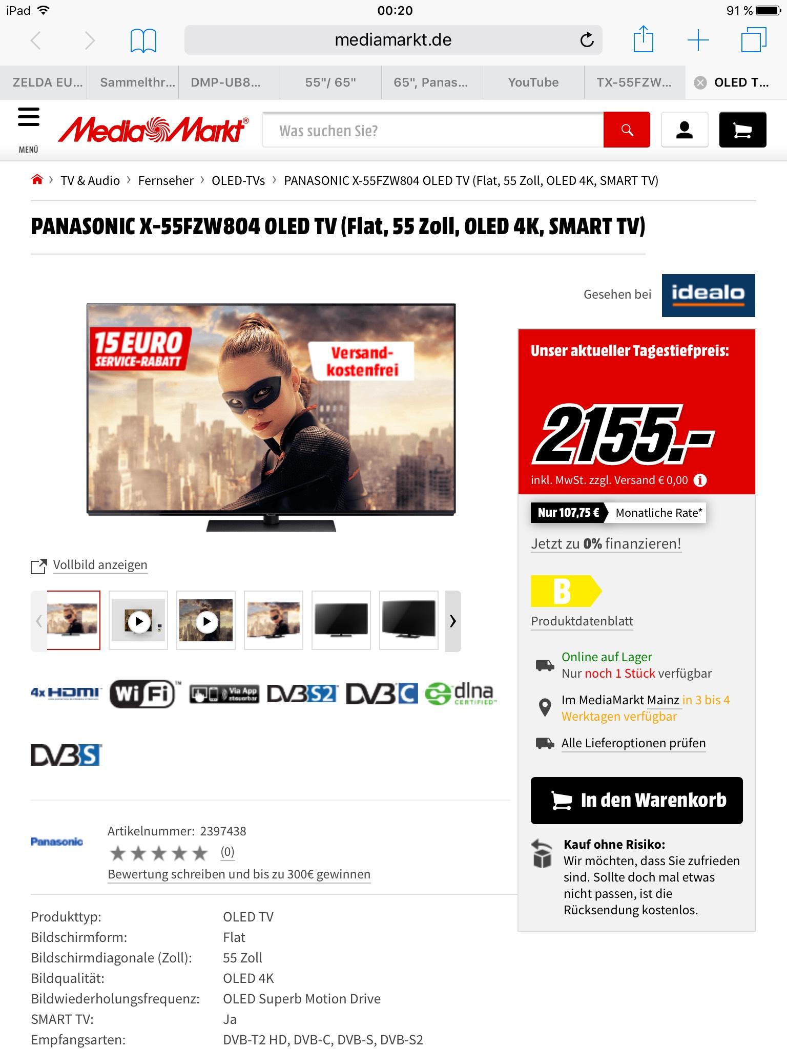 Mediamarkt/Saturn Panasonic Fzw804 Oled Tv