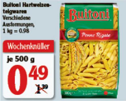 [Rüsselsheim/Hattersheim] Buitoni Hartweizen-Teigwaren (alle Sorten) 500g für 0,49€