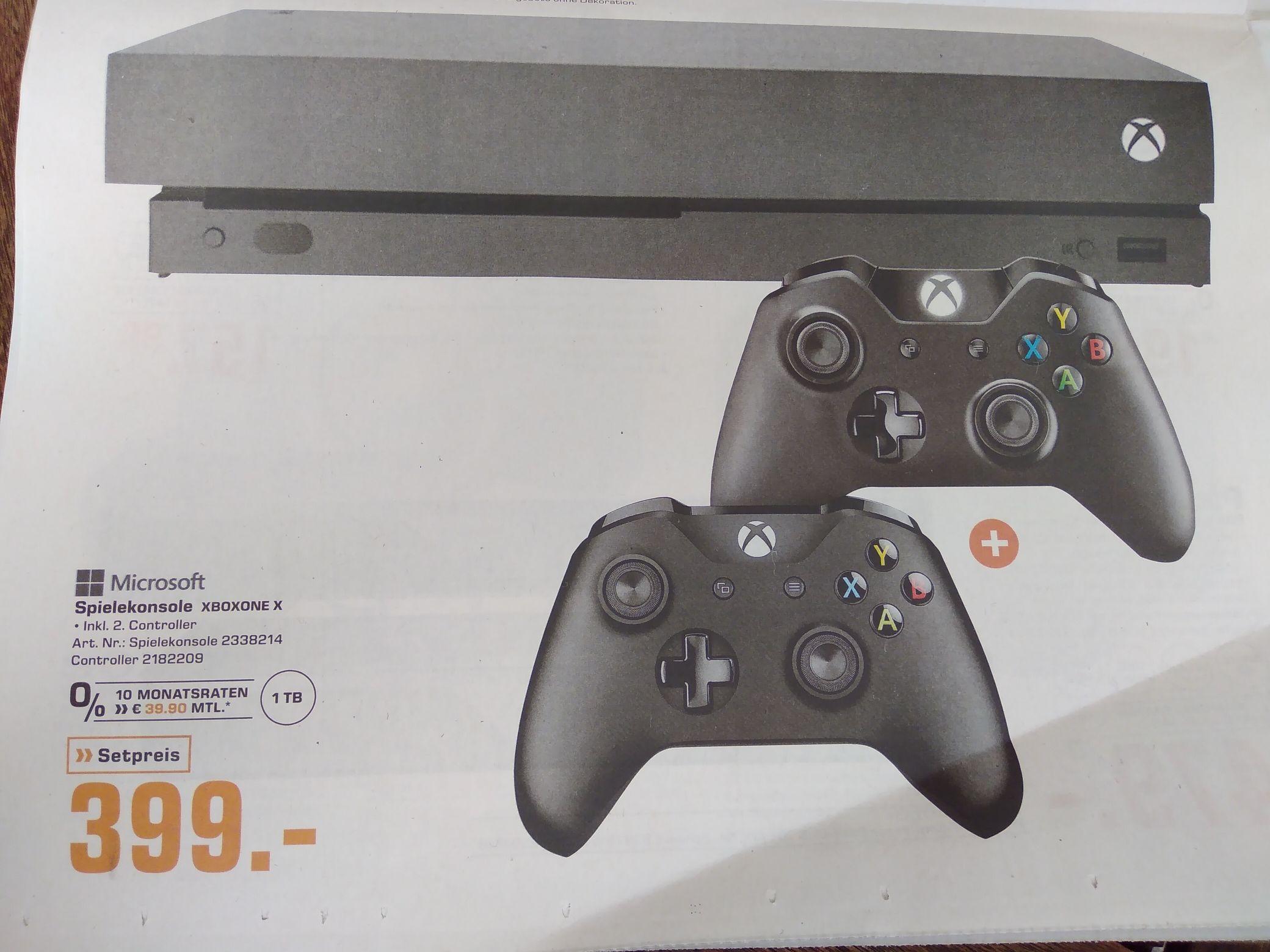 [Lokal Saturn Bremen] Xbox One X inkl. 2 Controller für 399€