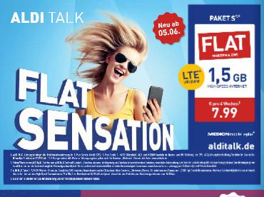 ALDI TALK Paket S ab 5.6. mit All-Net-Flat und 1,5 GB für 7,99€ / 4 Wochen (Prepaid)