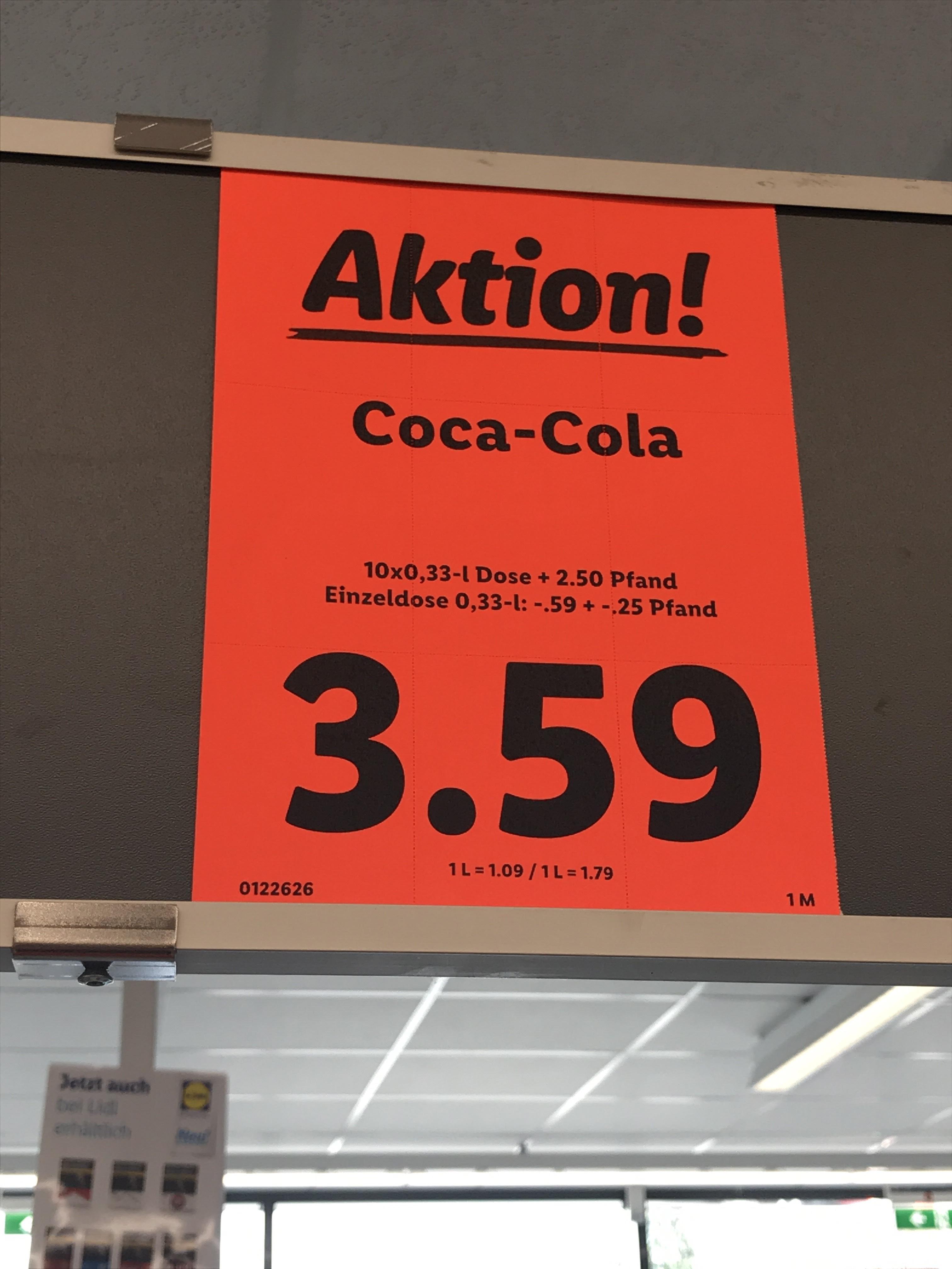 [LIDL] 10 x 330ml Coca-Cola + 2,50€ Pfand