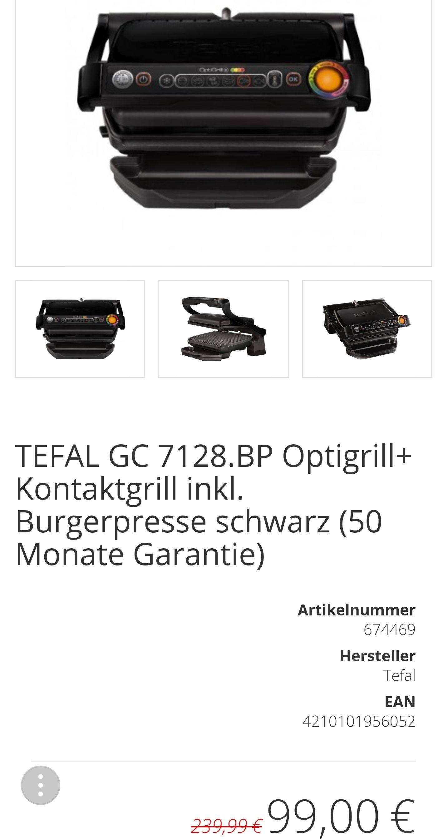 TEFAL GC 7128.BP Optigrill+ Kontaktgrill inkl. Burgerpresse schwarz (50 Monate Garantie)