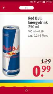 Red Bull Energydrink 250ml bei Rossmann 0,67€