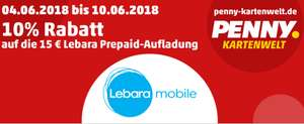 -10% auf Lebara Prepaid Guthaben  bei Penny Kartenwelt