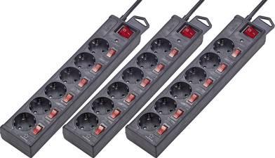 [voelkner] 3er Set Renkforce Überspannungsschutz-Steckdosenleiste (6fach, einzeln schaltbar, 45° Anordnung, max. 3500W, 1.50m Kabellänge) in schwarz