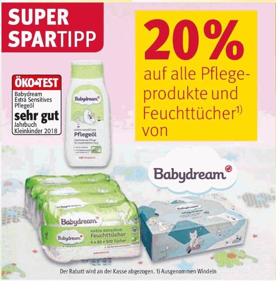20 % + 20 % Rossiliste + 10 % auf Pflegeprodukte und Feuchttücher von babydream