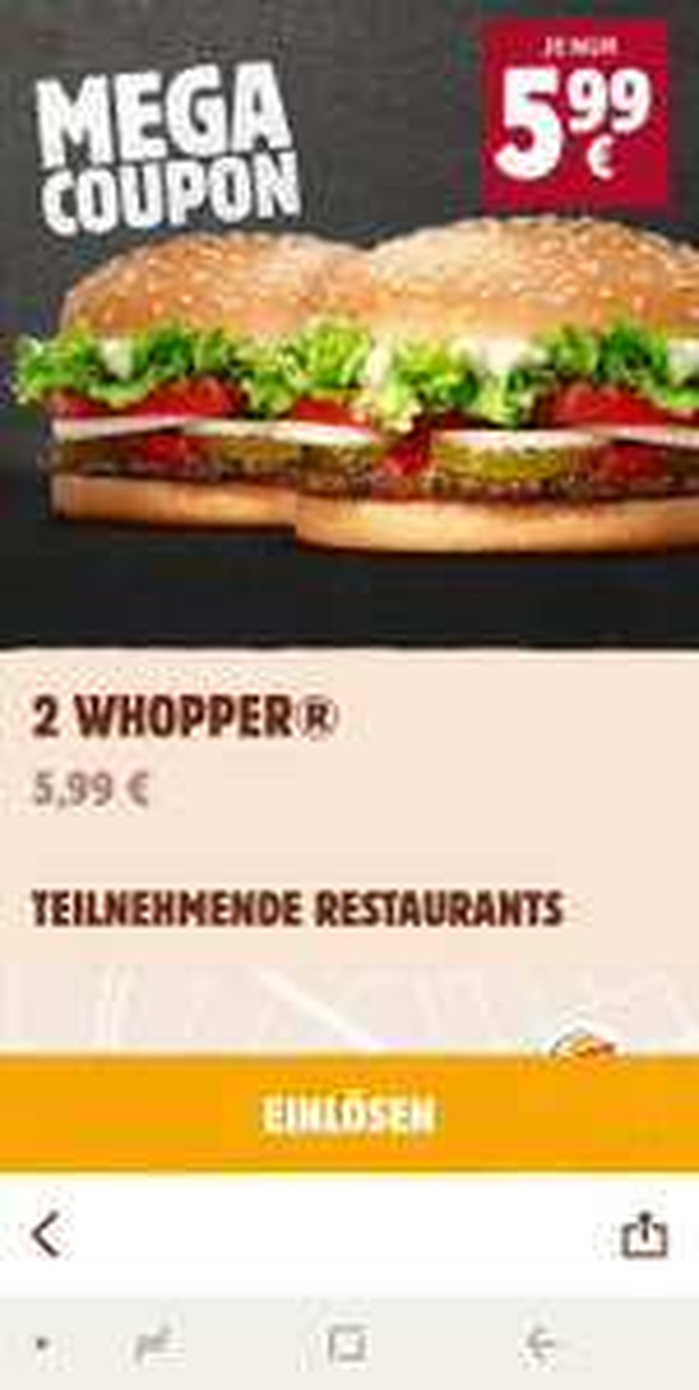 2 Whopper 5,99 € Burger King