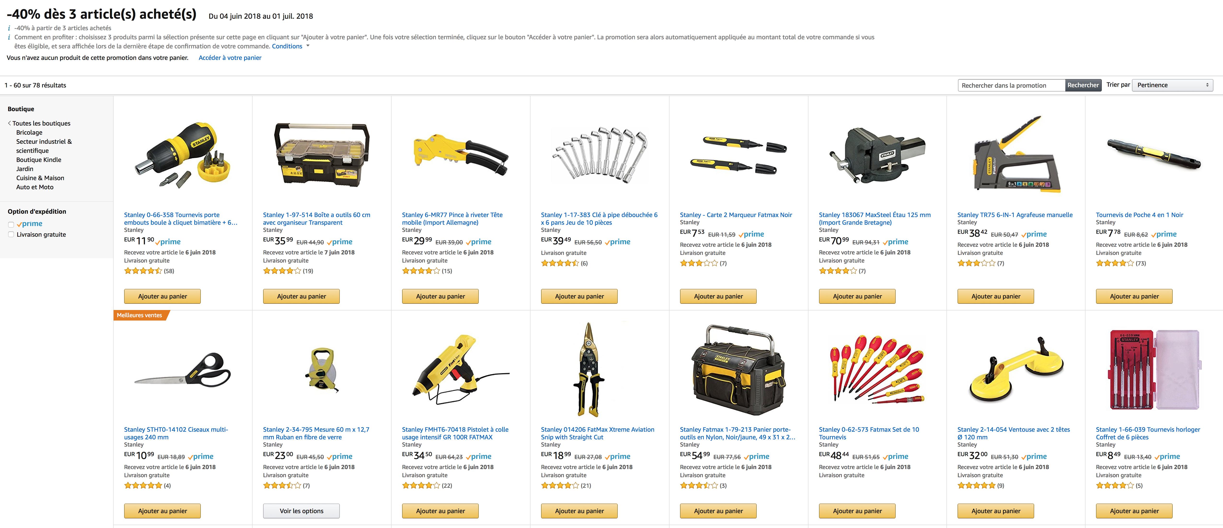 """40% Rabatt beim Kauf von drei Werkzeugen der Marke """"Stanley"""" @ Amazon.fr"""