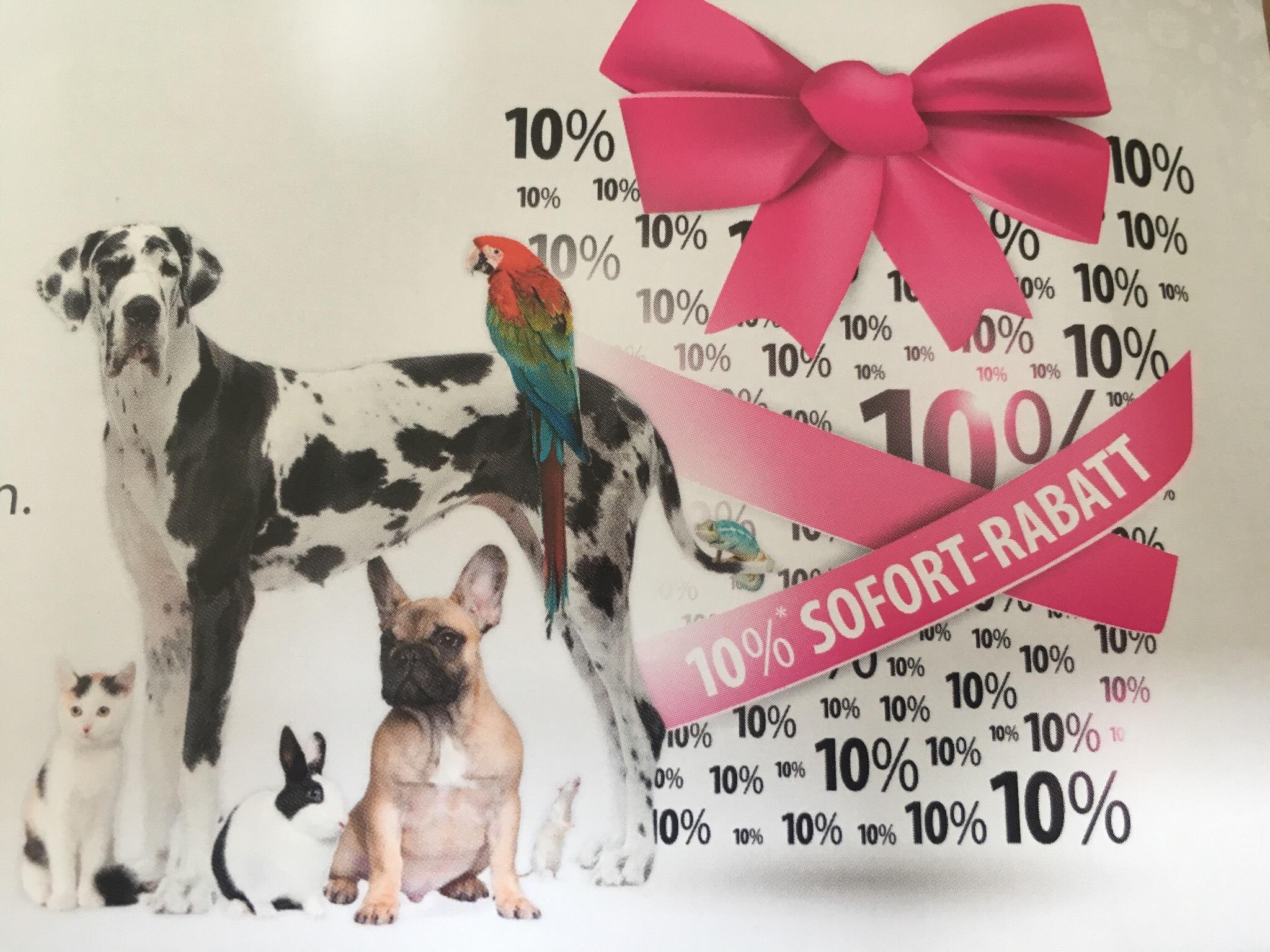 10% auf alles - außer Tiernahrung (5%) bei meintierdiscount.de