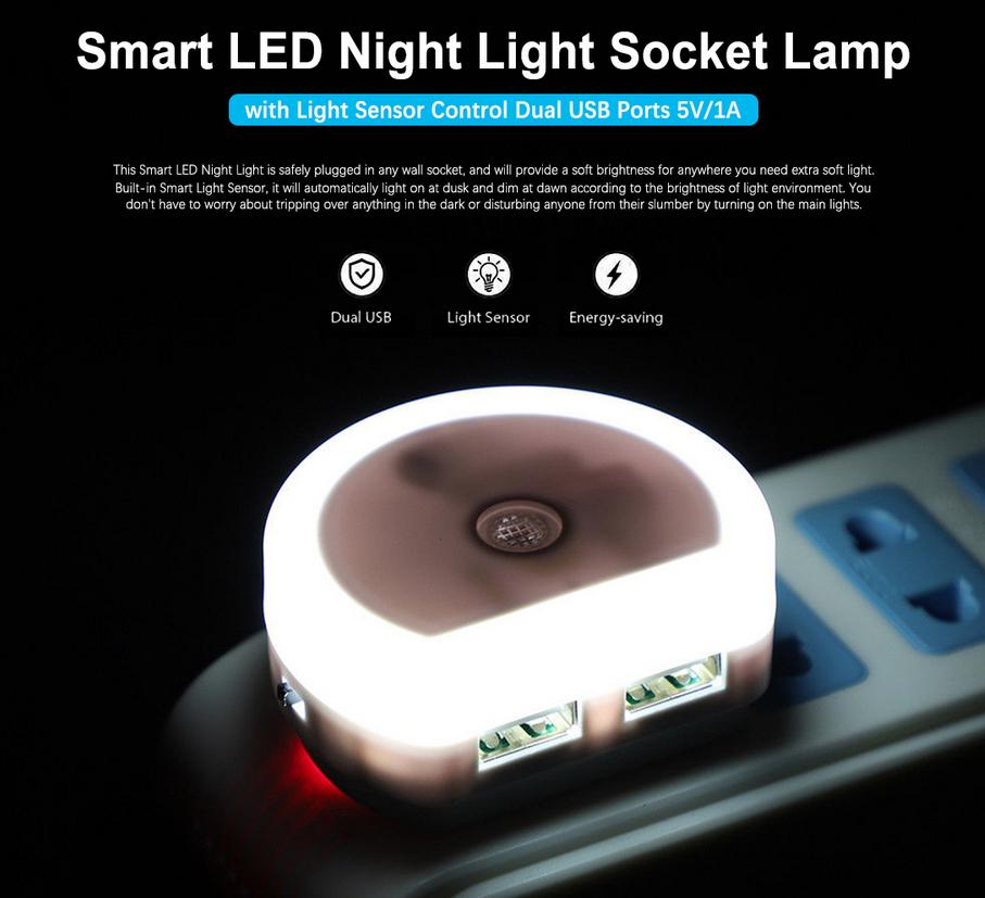 LED Nachtlicht mit Licht Sensor und Dual USB für 1,70€ (Zapals)