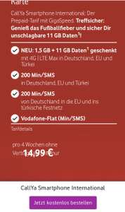 Vodafone Prepaid 1,5GB 200Minuten International Türkei