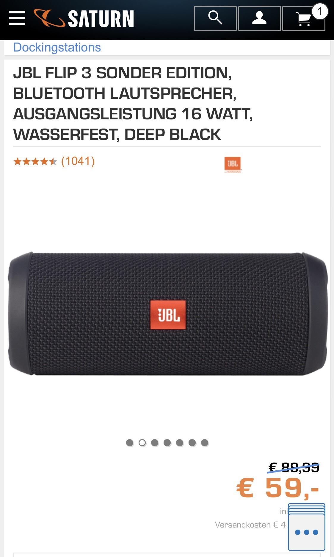 JBL FLIP 3 Schwarz Sonderedition 59,00€