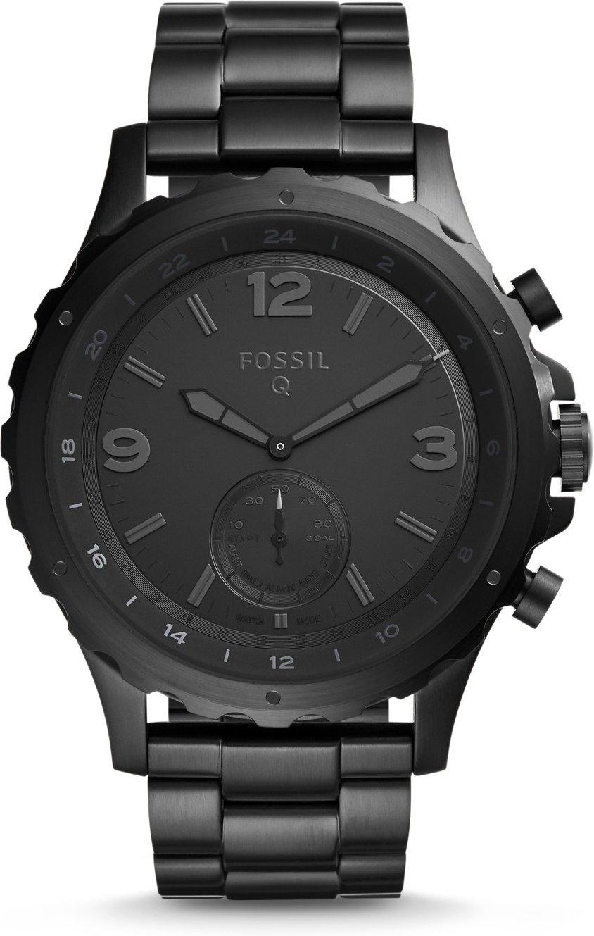 Fossil Herren Hybrid Smartwatch Q Nate - Edelstahl - Schwarz/Analoge Männeruhr im sportlichen Military-Design mit Smartfunktionen/Für Android & iOS