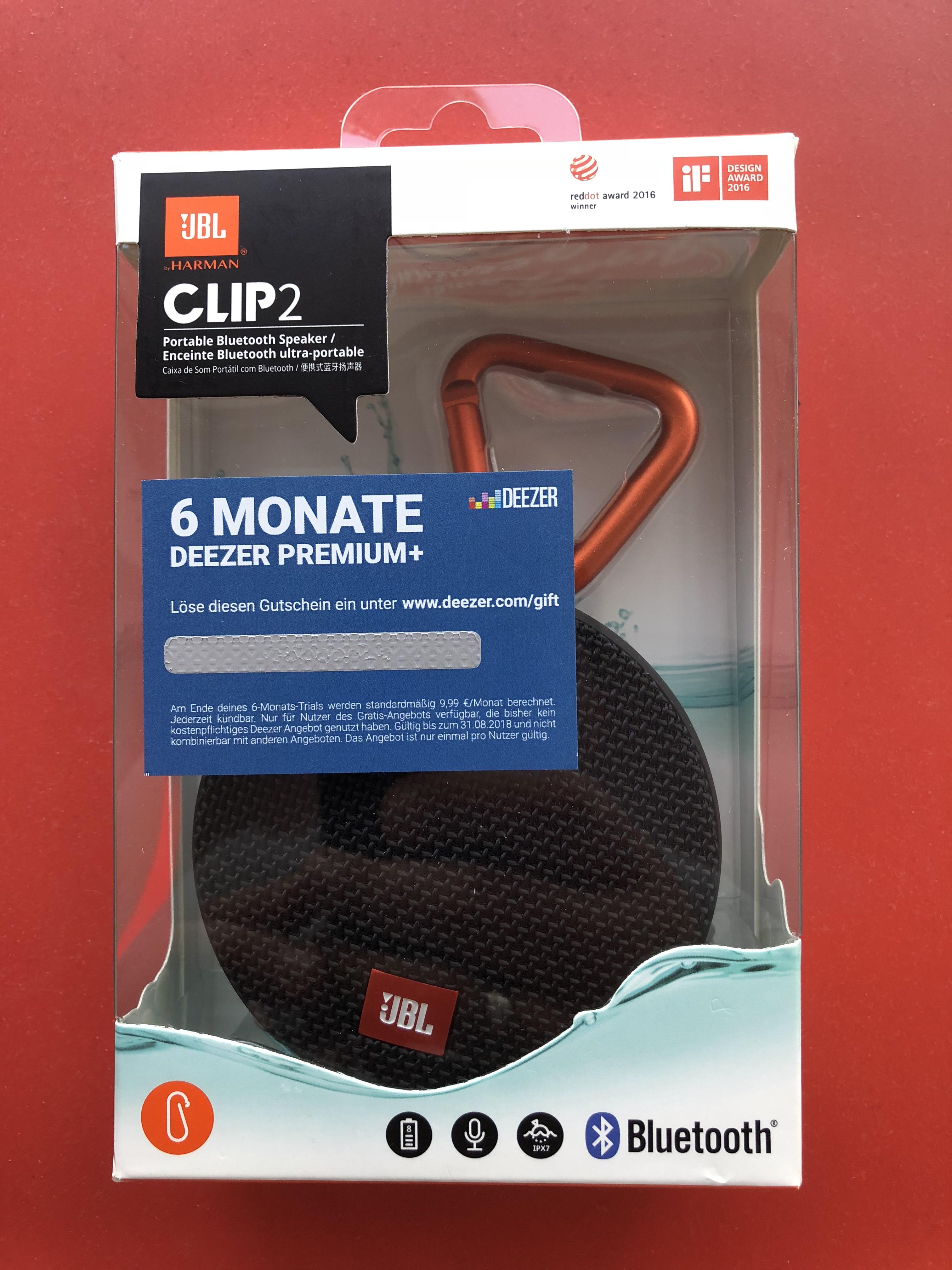JBL Clip2 BT Lautsprecher inkl. 6 Mo. Deezer Premium+