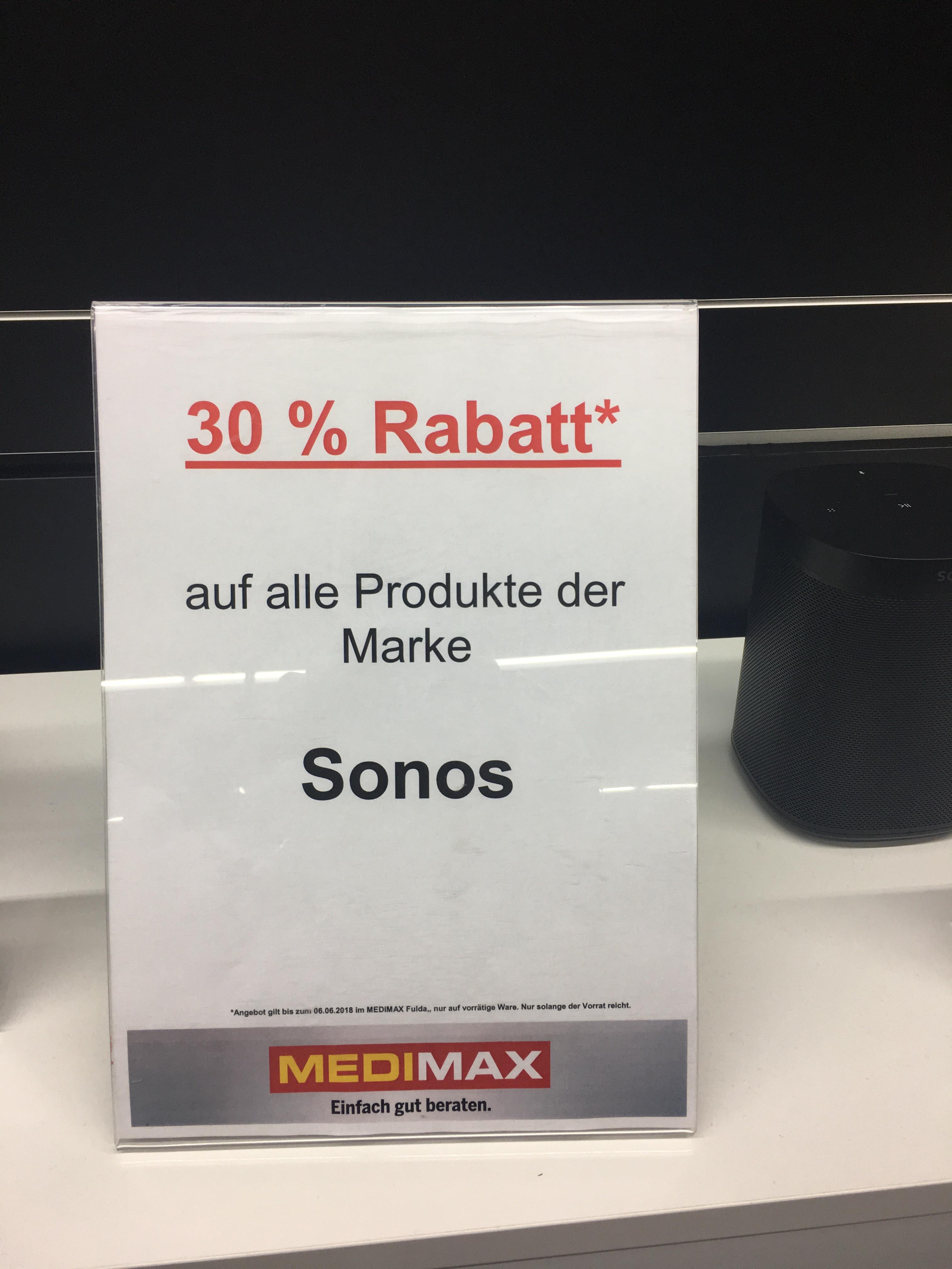 (LOKAL) 30 % Rabatt auf Sonos MEDIMAX Fulda