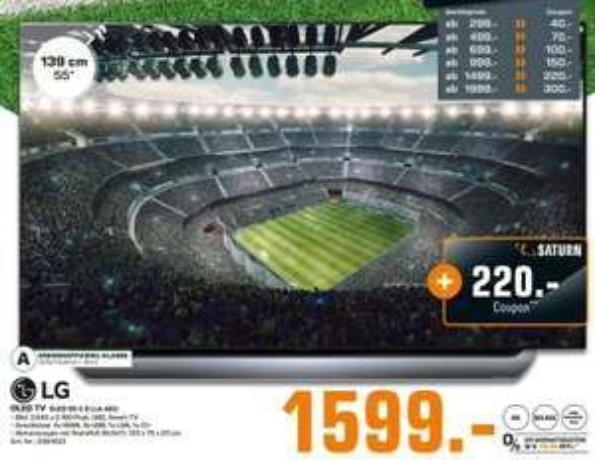 [Regional Saturn Hamburg-Alle Märkte/Norderstedt ab 06.06] LG OLED55C8LLA 139 cm (55 Zoll) Fernseher (4K OLED, Twin Triple Tuner, 4K Cinema HDR, Dolby Vision/Atmos, Smart TV) [Energieklasse A] + 220,-€ Coupon für 1599,-€