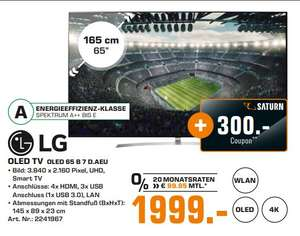 [Regional Saturn Hamburg-Alle Märkte/Norderstedt ab 06.06] LG OLED65B7D 164 cm (65 Zoll, OLED) Fernseher (Ultra HD, Doppelter Triple Tuner, Active HDR mit Dolby Vision, Dolby Atmos, Smart TV) [Energieklasse A] für 1999,-€ + 300,-€ Coupon