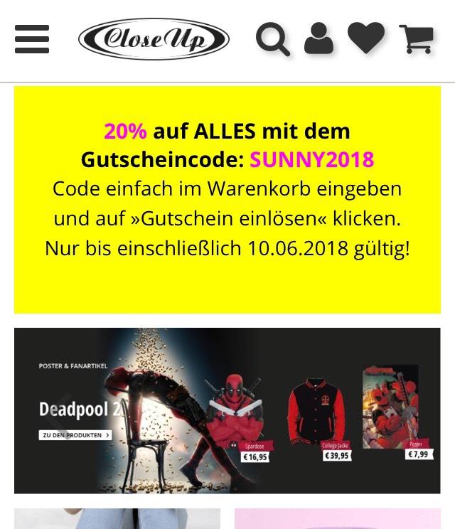 20 % auf ALLES bei CloseUp.de