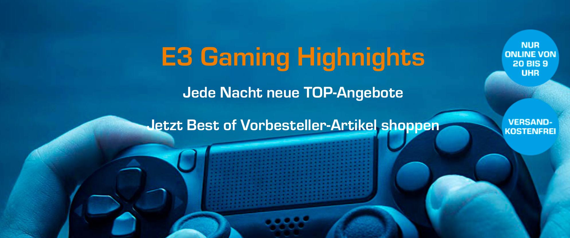 Saturn E3 Gaming Highnights (z.B. Jurassic World Evolution oder Crackdown 3 für je 49,99 EUR, Shenmue I & II für 29,99 EUR)