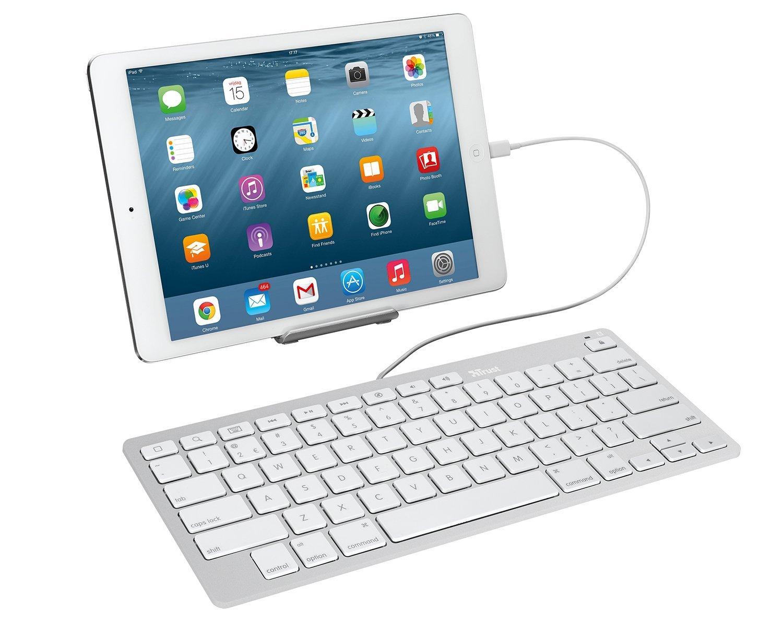 [nbb] Trust Multimedia Tastatur (Lightning-Anschlusskabel, QWERTZ, deutsches Tastaturlayout, geeignet für iPad/iPhone) weiß