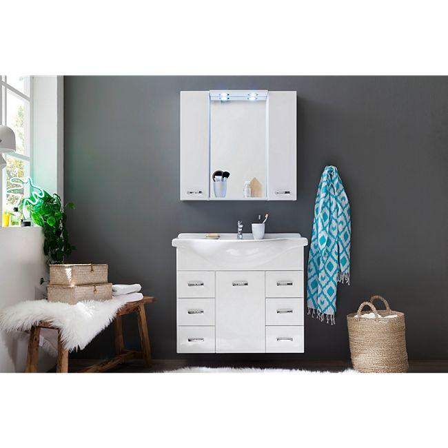 Trendteam Aqua 2-teiliges Badezimmer-Set inkl. Keramik-Waschbecken und LED-Spiegelschrank-Beleuchtung [plus.de]