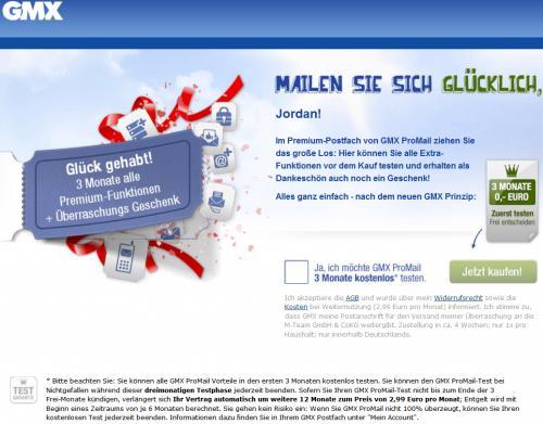 GMX Überraschungsgeschenk per Post + GMX ProMail 3 Monate kostenlos
