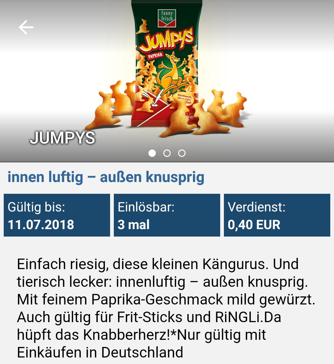 [Reebate App] 3x 0,40€ Rabatt auf Funny Frisch Jumpys
